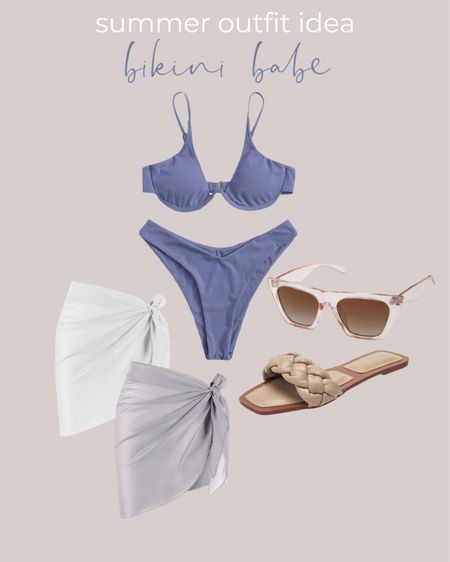 Amazon fashion prime day 2021 Summer outfit idea featuring the cutest bikini paired with a coverup, clear sunnies and braided sandals!  #LTKswim #LTKunder50 #LTKsalealert