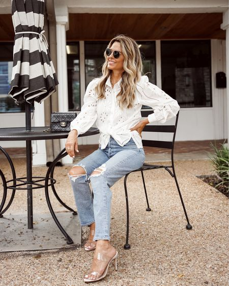 Beautiful cut out detail Petal N Pup blouse, destroyed AG denim, clear heels, Her Fashioned Life  #LTKstyletip #LTKunder100