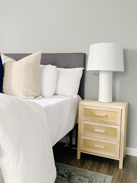 Love these blonde wood nightstands for this bedroom stage.  Nightstands, bedroom furniture, white lamps, gray headboard  #LTKhome