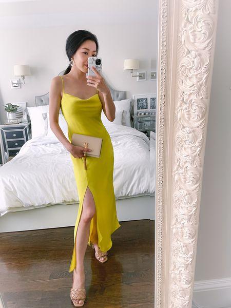 summer wedding guest dress // this vibrant yellow satin cowl neck dress is such a gorgeous option   •Express slip dress xxs petite •Quilted sandals size 6 •Saint Laurent Kate wallet on chain  #LTKSeasonal #LTKitbag #LTKwedding http://liketk.it/3g0Gr #liketkit @liketoknow.it