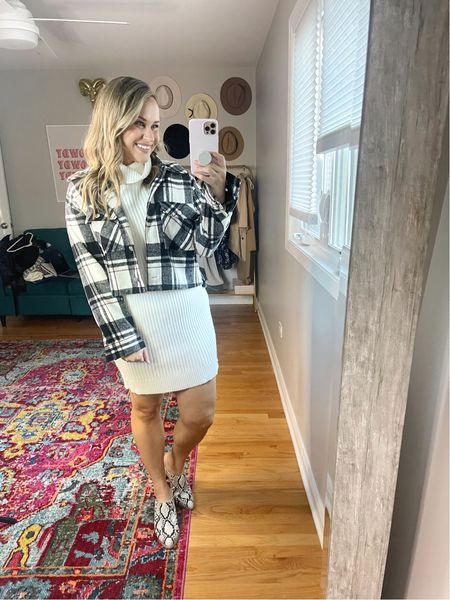 Fall outfits// shacket is 40% off with code HATONTHEMAP, linked these snakeskin mules and this sweater dress is an amazon find  #LTKsalealert #LTKshoecrush #LTKstyletip