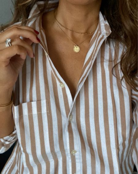 Oversized button shirt 👌🏼 (wearing xs)  Necklaces are from two different sets (love mix and matching these). Loafers and black skinny jeans run tts    #LTKstyletip #LTKunder50 #LTKsalealert
