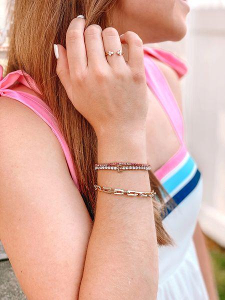 20% off 2+ bracelets with code STACKING20  Bauble bar. Tennis bracelets. Monogrammed bracelet. Monogrammed jewelry. Pink ombré bracelet. Link bracelet.   #LTKsalealert #LTKunder50