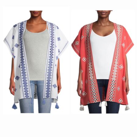 New Walmart cotton embroidered kimonos in four colorways, only $22.97! http://liketk.it/3jVYb #liketkit @liketoknow.it #LTKunder50 #walmartfashion