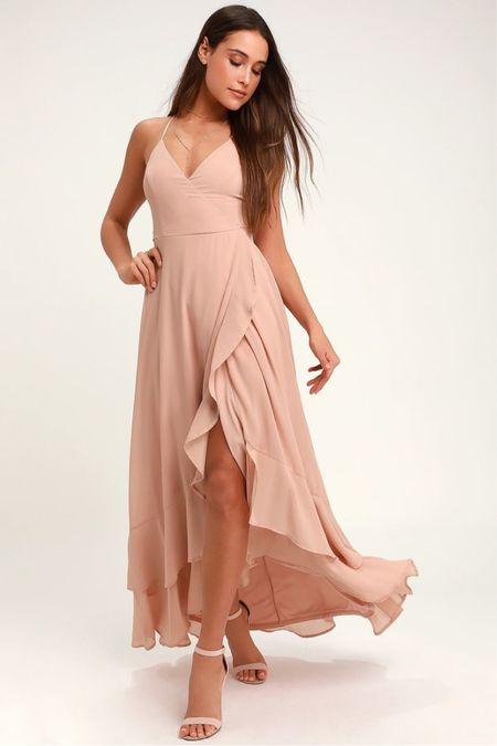 Blush dusty rose satin maxi spaghetti strap dress with slit and ruffles  Engagement session dress Wedding guest dress  #LTKunder100 #LTKwedding