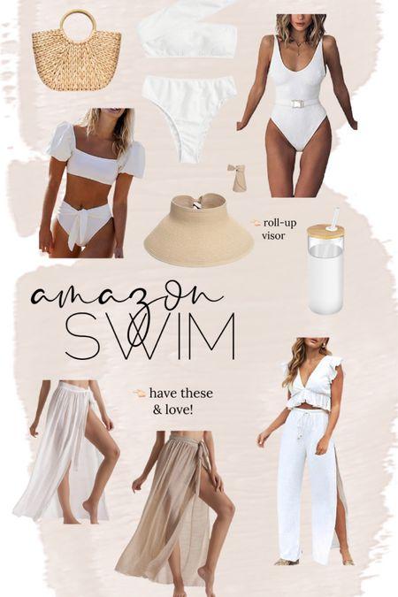 Amazon swim // one piece // two piece // coverup // hat // beach bag // pool // amazon find // http://liketk.it/3hWM3 @liketoknow.it #liketkit #LTKunder50 #LTKswim #LTKstyletip