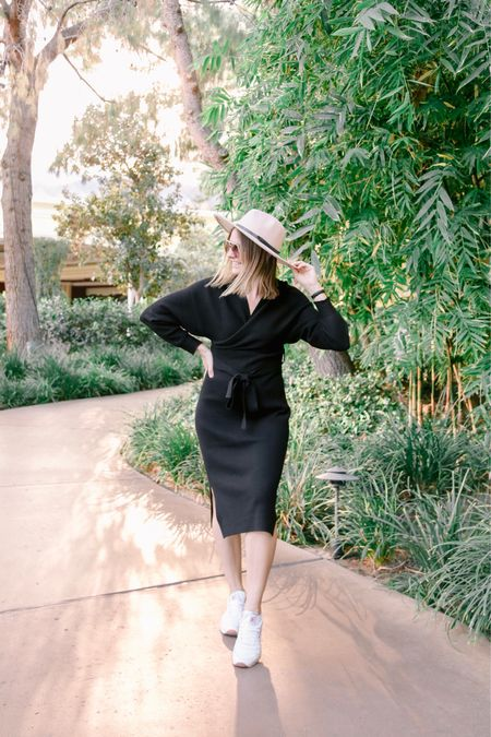 Black wrap dress with this cute neutral fedora hat and white sneakers ✨ http://liketk.it/38vIt #liketkit @liketoknow.it #LTKstyletip #LTKunder100 #LTKunder50 Follow me on the LIKEtoKNOW.it shopping app to get the product details for this look and others