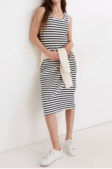 Striped jersey dress for summer Madewell outfits #ltkday   #LTKSeasonal #LTKsalealert #LTKunder100