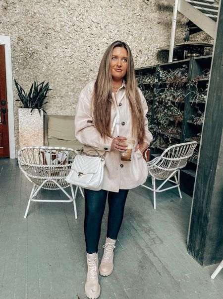 This shacket screams FALL🍁 but the weather on the coast does not 🤦🏼♀️. Cooler temps coming this week though so I'm ready 🤍. What's your favorite season? mines definitely fall if you can't tell 😉🎃 linking a pair of beige combat boots + this versatile shacket from @forever21