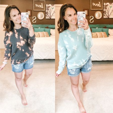 DIY tie dye sweatshirts turned out amazing! I'm so thrilled, super cheap to buy basics and turn them into the cutest on trend sweatshirts. Win!! Denim cutoffs shorts are on sale too,  wearing the same pair here rolled up and unrolled for more length.  http://liketk.it/2Pa5l #liketkit @liketoknow.it #LTKstyletip #LTKsalealert You can instantly shop my looks by following me on the LIKEtoKNOW.it shopping app