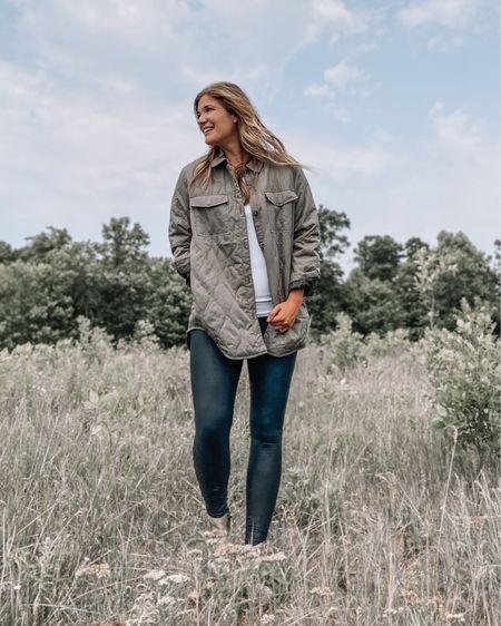 Quilted jacket  / white tank top / Spanx faux leather leggings / beige booties / initial pendant necklace / snakeskin booties #LTKunder100 #LTKsalealert #LTKstyletip
