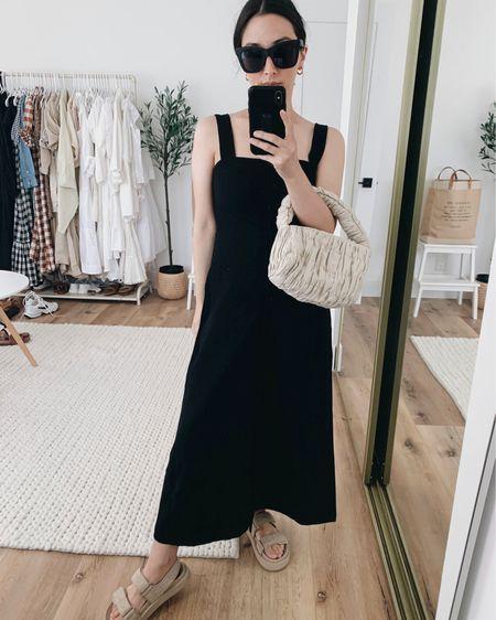 Simple black dress. How to style chunky sporty sandals.   Dress - Rachel Pally #LTKbump  xs Bag - Mango Sandals - Mango 5 Sunglasses - Quay Earrings - Madewell   http://liketk.it/3ihqg #liketkit @liketoknow.it #LTKunder100 #LTKshoecrush