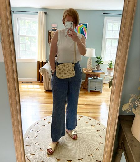 Simple look today!  I'm in a size small top, medium bottoms.  Bag is sold out Clare V, but I found mine on Poshmark!