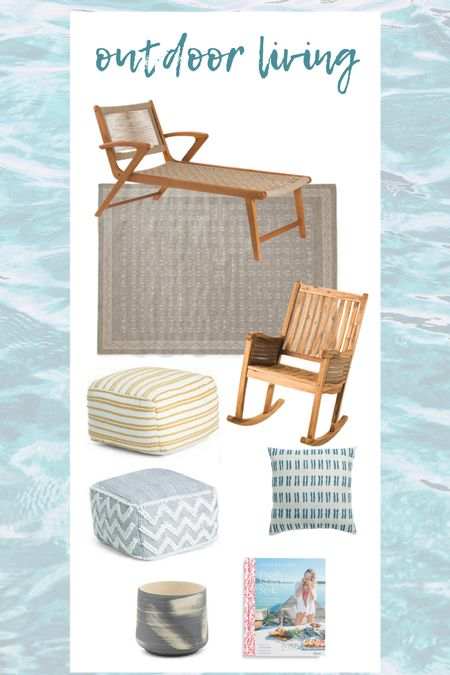 I love these wooden outdoor chairs and outdoor accessories   #LTKSeasonal #LTKstyletip #LTKhome
