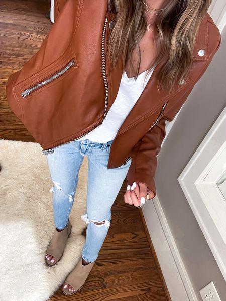 Faux leather moto jacket size Xs   #LTKunder100 #LTKsalealert #LTKunder50