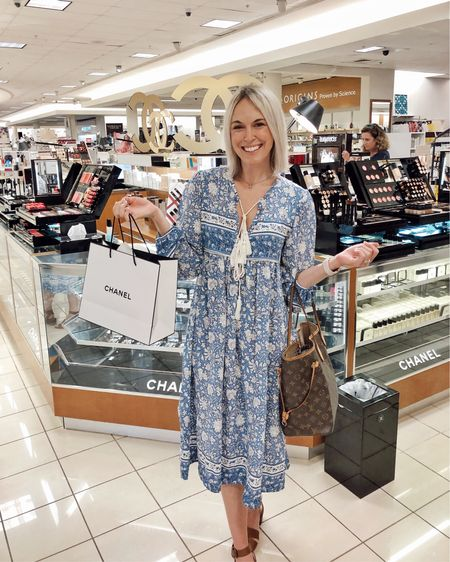 Went makeup shopping at Chanel with my mama! Wore this under $30 boho midi dress for our shopping day. Size up, I'm in a medium! All makeup products in my bag linked below 👍🏻 http://liketk.it/2Dkkn @liketoknow.it #liketkit #LTKbeauty #LTKunder50 #LTKstyletip #ltksummer, foundation, concealer, bronzer, makeup brushes, SPF, Belk, Nordstrom, Amazon