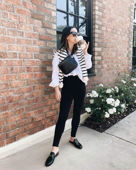 Crystalin Marie #ootd.   Shirt - AYR xs Leggings - Everlane xs Mules - Gucci 35 Bag - Clare V. Sweater - Zara xs  Sunglasses - Anine Bing (old)   http://liketk.it/3gE2l #liketkit @liketoknow.it #LTKshoecrush #LTKstyletip #LTKitbag