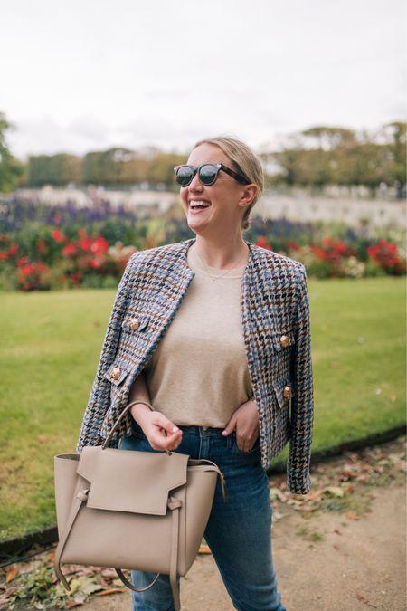 Tweed jacket from Mango (M) Jcrew sweater tee (L) Celine mini belt bag  #LTKSeasonal
