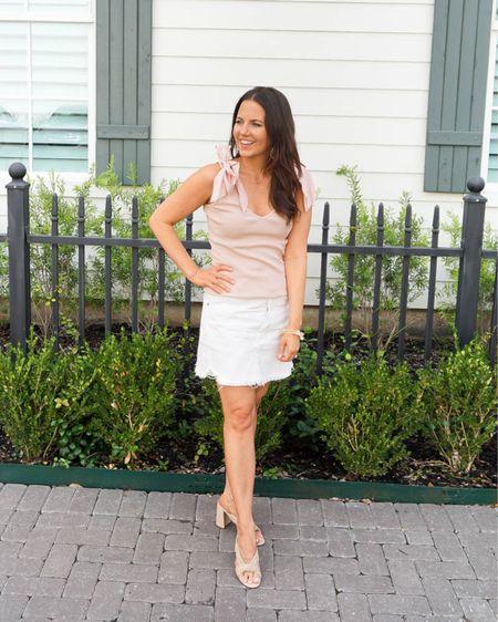 Summer outfit / pink bow tank top / white jean skirt / beige sandals / stone bracelets    #LTKshoecrush #LTKunder100 #LTKunder50