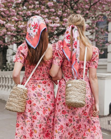 @liketoknow.it #liketkit http://liketk.it/3f9u2 l k bennett pink floral midi dress with puff sleeves, satin head scarves, basket raffia bag