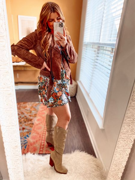 NSALE + shein collide.   Floral dress is under $30. Nice quality and fit runs TTS. I'm in a large.   Size up in jacket! Runs small! I'm in a large! Under $100  Size up half size in boots. $149    #LTKsalealert #LTKstyletip #LTKunder100