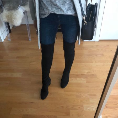 """Loving these OTK boots for thin calves. I took my usual size 7 but my toes are 1"""" away from the end of the shoe so I could probably go down a half a size. FYI. This retailer works with ShopRunner for free 2 day shipping. The boots are a very pricey investment even on sale but they're well made and fit well. 😬 I'm 5' 2.5"""" with 12.5"""" calves. Special thanks to my friend Jules @jules_style_diary for enabling! @liketoknow.it http://liketk.it/2y2Or #liketkit #LTKshoecrush #LTKsalealert"""