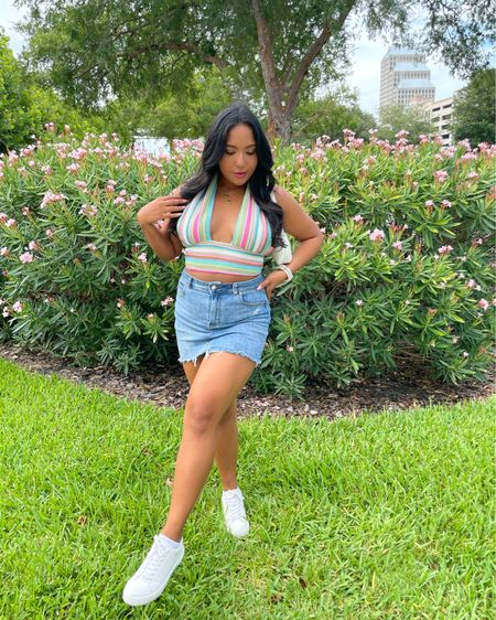 Stunnin in the summer 🌸☀️🍉  🤎Follow for all the Mid Size Outfit Inspo ✨ 🤎 Shop my daily looks by following me on the LIKEtoKNOW.it shopping app  🤎 Links are on insta Bio!  . . #outfitoftheday #outfitinspiration #outfits #outfitinspo #outfitideas #outfitideas4you #midsizestyle #midsizefashion #midsize #midsizegals #midsizegirl #midsizeootd #womenofcolor #womenempowerment #womenlifstyle #womensfashion #latina #latinablogger #latinastyle #summercolors #haltertop #knittedhaltertop #knittedtop #colorfulpattern #denimskirt #denim #whitesneakers #boohoo http://liketk.it/3jwSc #liketkit @liketoknow.it #LTKshoecrush #LTKsalealert @liketoknow.it.brasil @liketoknow.it.europe Shop your screenshot of this pic with the LIKEtoKNOW.it shopping app #LTKcurves