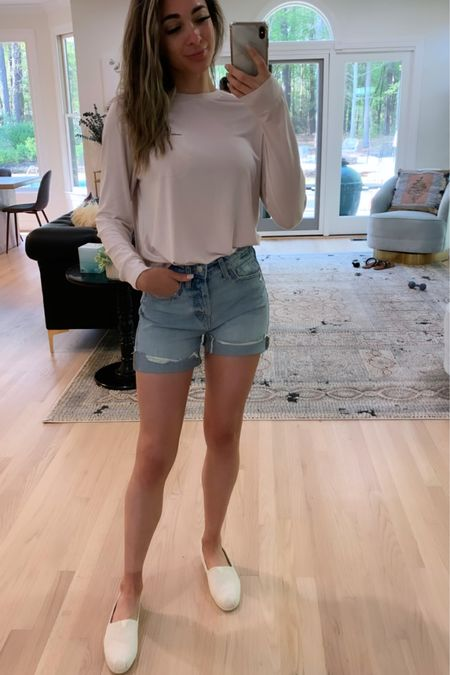 In love with my new outfit from Target! 🤩 How cute are these shorts! I love that they are longer shorts and I rolled them up one time to be the perfect length! This shirt is SO soft I will most likely sleep in it tonight! 😂 Last but not least my shoes are super comfy too and lightweight! All perfect for summer! ❤️👏🏼 Who else is loving the warm weather!  . . .  You can instantly shop my looks by following me on the LIKEtoKNOW.it shopping app http://liketk.it/3cSm6 #liketkit @liketoknow.it #LTKstyletip #LTKshoecrush #LTKsalealert