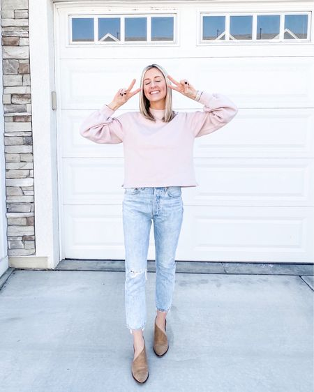 """Ready for spring! Love this crew sweatshirt for casual days and these light wash jeans. True to size in both. I'm wearing a small in the top and 27 in bottoms. My tried and true shoes that I've had for 3 years are in the """"brown"""" color. http://liketk.it/2KXnp @liketoknow.it #liketkit #LTKshoecrush #LTKspring"""
