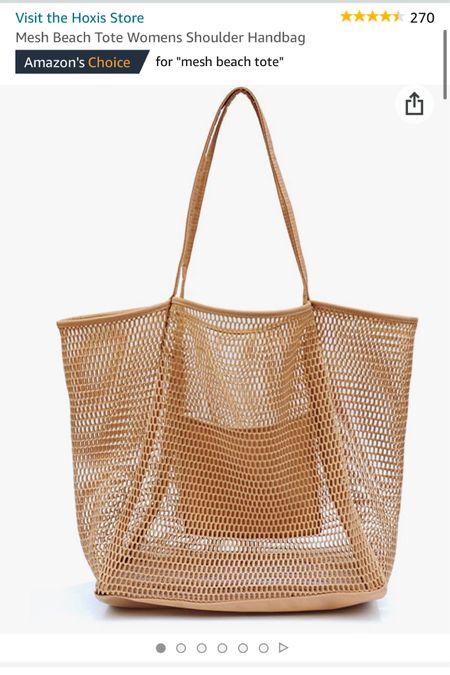 Tan mesh beach/pool bag from Amazon   http://liketk.it/3gT5k #liketkit @liketoknow.it #BeachBag #PoolBag #BeachEssentials