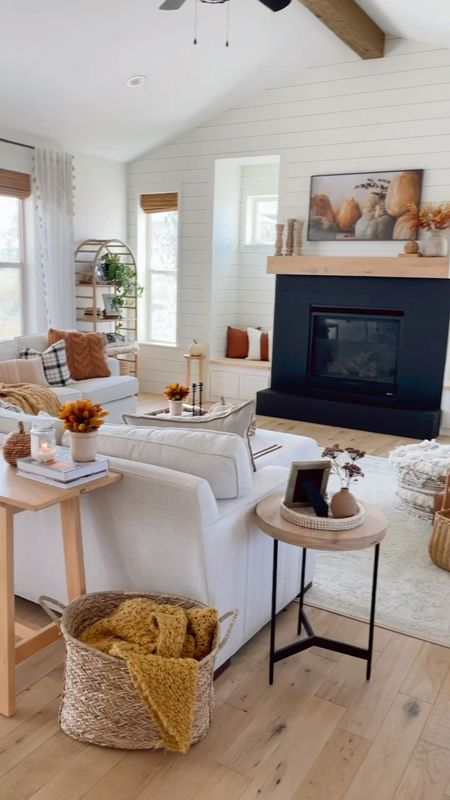 Fall decorating in the living room. Lots of the fall decor here is from Target.  Grant Tv art is from Etsy.   #LTKhome #LTKfamily #LTKSeasonal