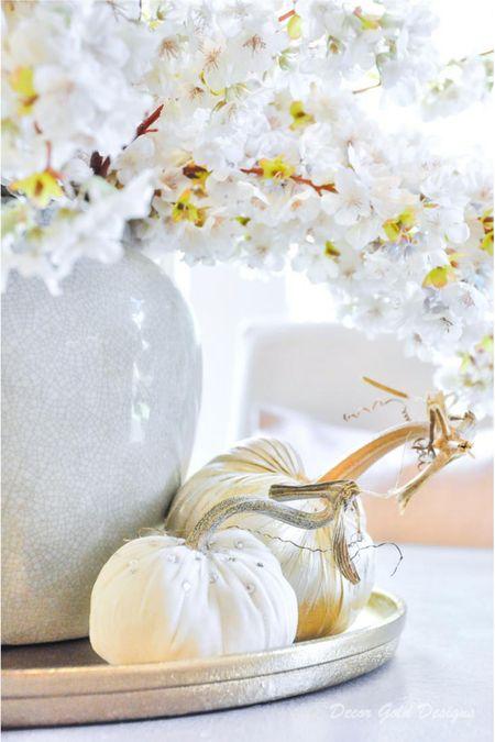 Round tray, vase jar, faux cherry blossom branches, white pumpkin   #LTKunder50 #LTKhome