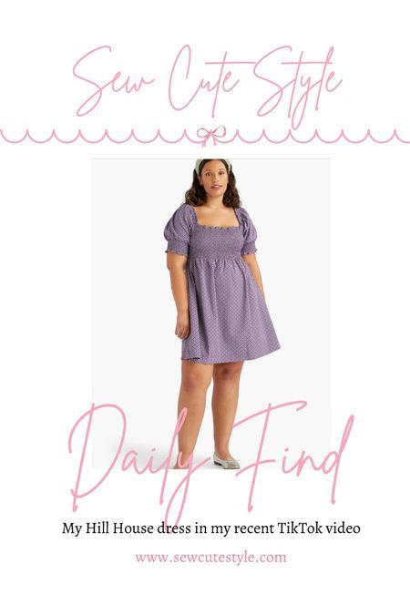 My Hill House purple dress featured in my recent TikTok videos.
