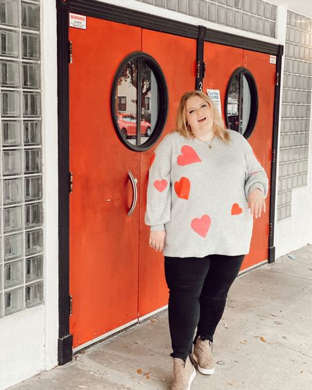 This sweater is so cute and there's still a few sizes left! I sized up for an oversized look, but couldve probably sized down and gotten that vibe. http://liketk.it/37D9R #liketkit @liketoknow.it #LTKsalealert #LTKcurves