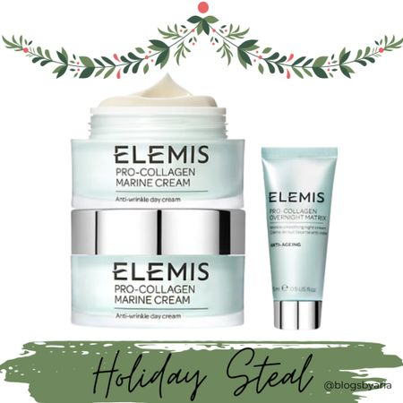 Skincare gift idea! This Elemis pro collagen marine creme duo set can be broken up into a few gifts. The travel size would work well as a stocking stuffer or teacher gift! Gifts for her gift guide for her holiday gift ideas Christmas gift guide   #LTKGiftGuide #LTKbeauty