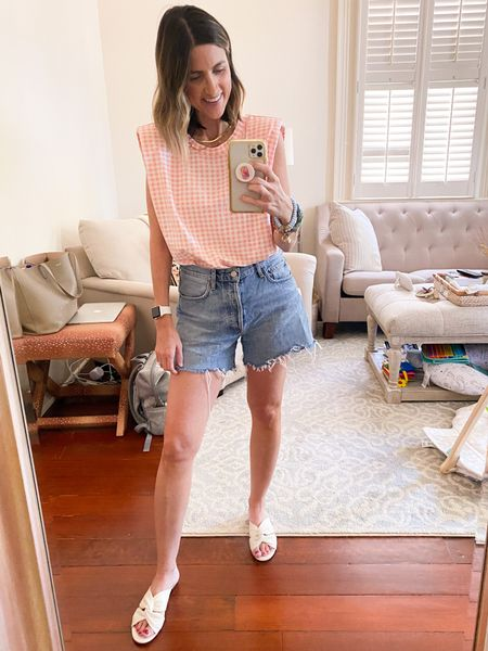 Shopbop gingham top is 💯! Wearing XS. Under $50. Paired with AGOLDE Reese shorts. Perfect fit and length. Fit TTS.   #LTKSeasonal #LTKunder50