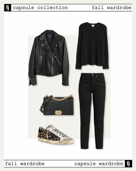 Fall capsule wardrobe. Black leather jacket casual fall outfit idea. Black jeans, black sweater, golden goose sneakers    #LTKstyletip #LTKunder50 #LTKunder100