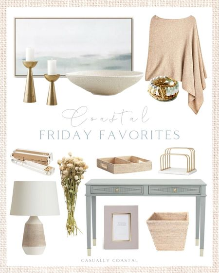 """This week's Friday Favorites! Loving all these pretty, feminine pieces for a home office space and be sure to use code GOBIG to take 40% off the cashmere poncho! This gorgeous bowl is currently on clearance and would be perfect for the holidays with fresh greens inside! - home decor, decor under 50, home decor under $50, fall decor, fall decorations, fall home decorations, coastal decor, beach house decor, beach decor, beach style, coastal home, coastal home decor, coastal decorating, coastal interiors, coastal house decor, home accessories decor, coastal accessories, beach style, blue and white home, blue and white decor, neutral home decor, neutral home, natural home decor, fall stems, afloral Target home, Target finds, Target decor, Target home decor, leather picture frame, megan molten, fall sweaters, fall ponchos, J.Crew fall, J.Crew fall sweaters, anthropologie, gold accessories, coastal art, coastal artwork, coastal prints, coastal art prints, prints decor, prints on a wall, target art, abstract art, abstract wall art, abstract art print, large art prints, large artwork, small art, wall art large, affordable artwork, blue artwork, fall fashion, fall stems, dried flowers, home office desk, home office decor, ballard designs furniture, home office furniture, home office accessories, desk decor, desk organization, trash can, rattan baskets, whitewashed rattan, stapler, afloral, desk lamp, textured lamp, white lamp, console table, blue console table, entryway table, desk with drawers, small desk, blue desk, gray desk, brass candleholders, gold candleholders, candlesticks, thanksgiving tablescape, textured bowl, ceramic bowl, decorative bowl, 18"""" lamp, world market, beaded bracelet, wrap bracelet, Anthropologie  #LTKhome #LTKsalealert #LTKunder100"""