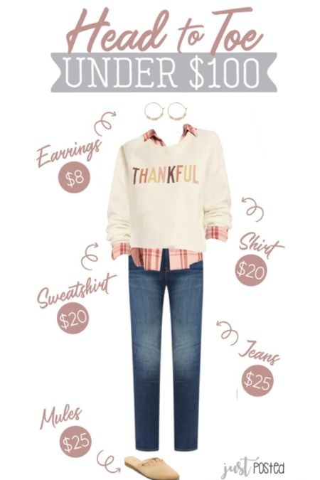 An entire Head to Toe Under $100 look that is perfect for Thanksgiving! This cozy sweatshirt is only $20 and is so cute paired with this pink plaid shirt. Add a pair of jeans, earrings and these tan ruffle mules!   Target  Old Navy Thanksgiving  Holiday  Under $100   #LTKSeasonal #LTKunder100 #LTKHoliday