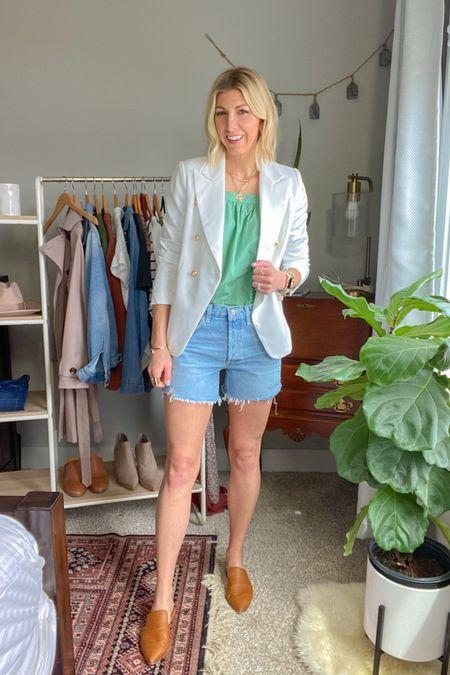 http://liketk.it/3bxKi #liketkit @liketoknow.it  My Spring Capsule 2021 - white blazer -balloon sleeve blouse -denim shorts -mules #LTKunder100 #LTKworkwear #LTKstyletip