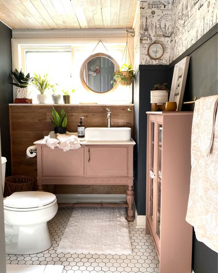 Small guest bathroom makeover with Anthropologie wallpaper and paint. @liketoknow.it.home #LTKstyletip #LTKunder100 #LTKhome http://liketk.it/3iE70 #liketkit @liketoknow.it