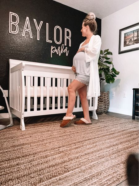 Use code SAVEBIG today for 30% off site wide and 50% off clearance. Only 3 weeks left (or sooner) until Baylor makes his appearance! AD my whole body seems to be a lot more swollen this pregnancy, but these cute jammies and rice from @pinkblushmaternity are seriously the most comfortable things ever. I will definitely be packing these for the hospital! I'm wearing a size medium in both the pj set and robe! . .  #pinkblushstyleambassador #prettyinpinkblush #nurseryideas #boynursery #cribs #whitecrib #babynurserydecor #babynursery #babynurseryideas #babyroom #babyroomideas #babyboyroom #woodenname #namesign #kidsroomdecor #babydecor #jute #juterug #nurseryreveal #roomreveal #nurseryrecliner #recliner #rockingchair #blackpaint #blackaccentwall #neutralnursery #nurserydecor #nurserydesign #nurseryroom #nurseryinspiration  #LTKbaby #LTKsalealert #LTKbump