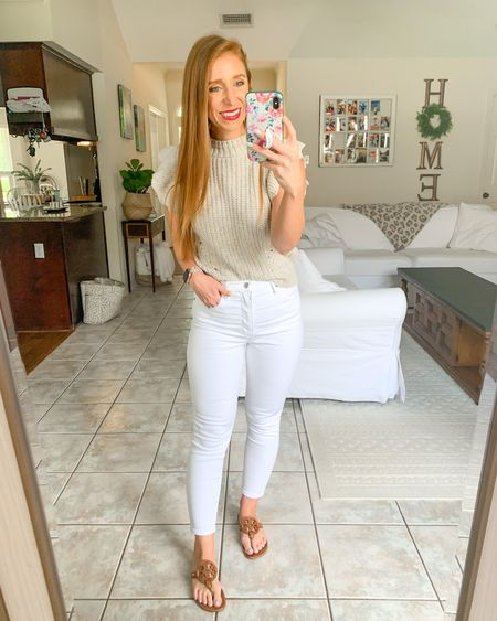 Perfect early fall outfit                        Target style  Target finds  Amazon fashion Amazon finds  White denim  Sandals  Fall transition  Fall outfits  Sweater tank   #LTKshoecrush #LTKstyletip #LTKunder50