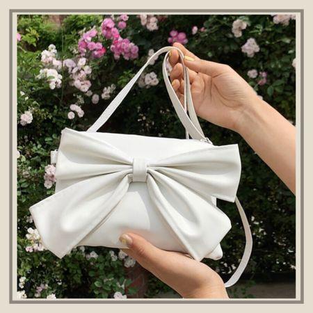 White bow decor flap purse from Shein   #LTKitbag #LTKunder50 #LTKstyletip