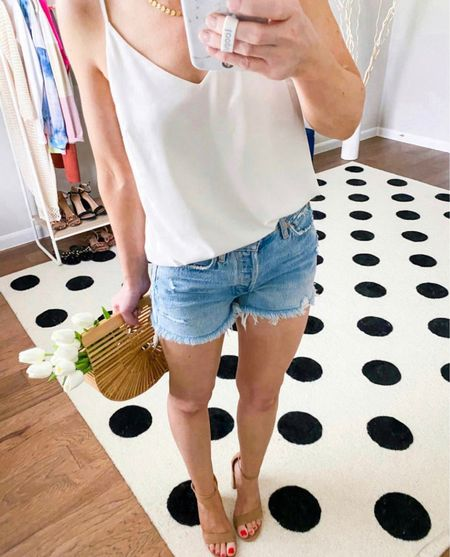 Summer outfit   Top in small and true to size   Jean shorts - sized down one to a 25  Heels true to size       #liketkit @liketoknow.it #ltkunder50 #ltkstyletip #ltkseasonal spring outfit, summer fashion, jean shorts, agolde, revolve, target style, target finds, amazon home, amazon finds , summer outfit, date night look,  #LTKitbag #LTKtravel #LTKunder100 #LTKstyletip #LTKSeasonal #LTKhome #LTKstyletip #LTKshoecrush #LTKSeasonal