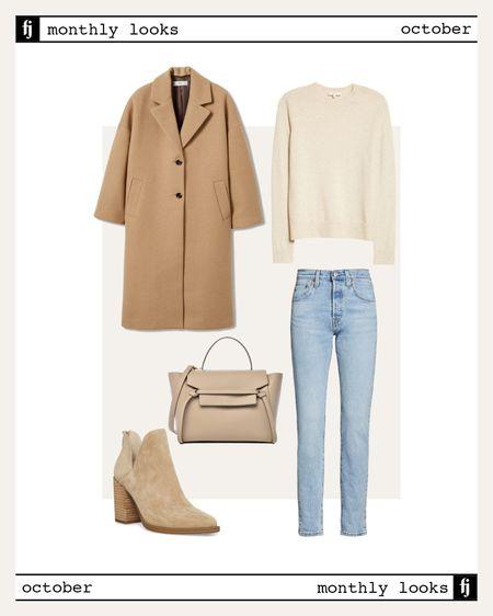 Fall outfit idea, camel coat, sweaters, booties, #falloutfits   #LTKunder100 #LTKsalealert #LTKstyletip
