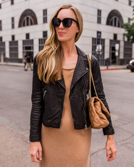 Last chance to grab this moto up to 25% off at the Shopbop sale! Similar under $200 linked that I own in taupe and love as well.  #falldress #slipdress #blackleatherjacket