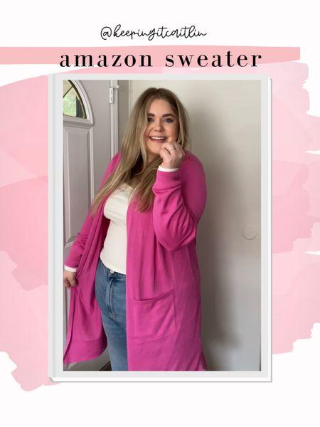 Amazon long cardigan. Lightweight duster. Wearing xxl    #LTKunder50 #LTKcurves #LTKSeasonal