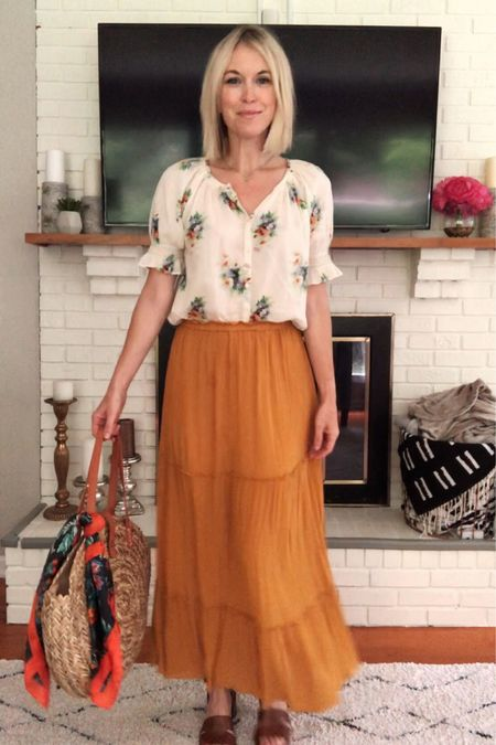 Summer capsule wardrobe (look 9/9): Floral smocked top, yellow maxi skirt, round straw bag, heeled sandals, floral scarf 🌼 Check out the other looks in this series for more casual summer outfit ideas 💡 http://liketk.it/2CuM1 @liketoknow.it #liketkit #LTKunder100 #LTKstyletip #ltksummer , Madewell, Target, vacation