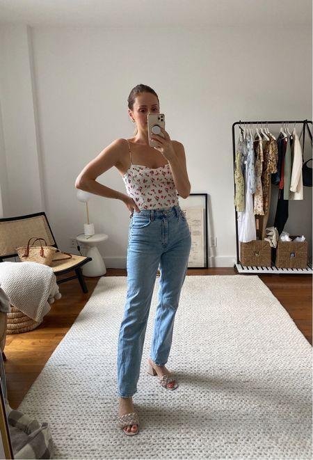 Abercrombie ultra high rise straight jeans and seamless sweetheart cami   #LTKunder100 #LTKSeasonal #LTKunder50